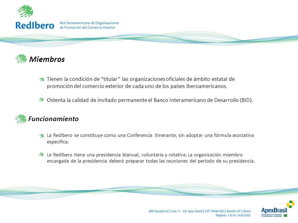 Miembros Tienen la condición de titular las organizaciones oficiales de ámbito estatal de promoción del comercio exterior de cada uno de los países iberoamericanos.
