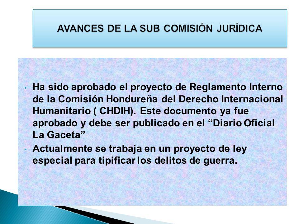 Ha sido aprobado el proyecto de Reglamento Interno de la Comisión Hondureña del Derecho Internacional Humanitario ( CHDIH). Este documento ya fue apro