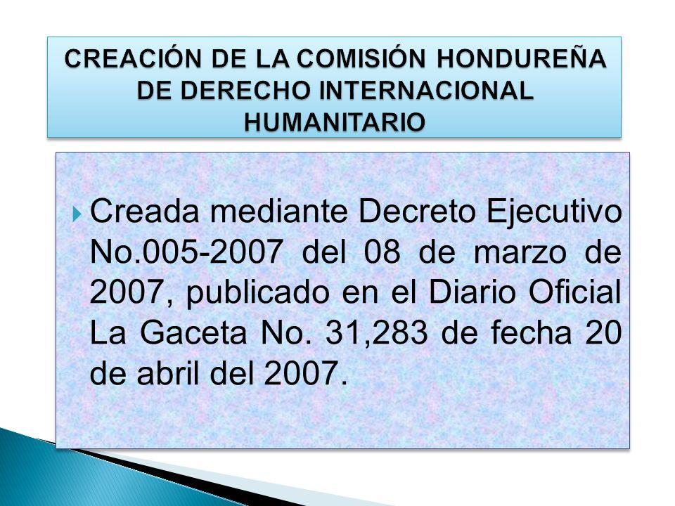 Aprobación y vigencia del Reglamento Interno de la CHDIH Aprobación y vigencia del Reglamento para la Protección del Emblema de la Cruz Roja y Media Luna Roja.