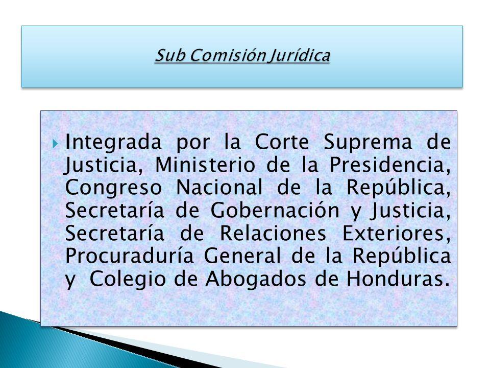 Integrada por la Corte Suprema de Justicia, Ministerio de la Presidencia, Congreso Nacional de la República, Secretaría de Gobernación y Justicia, Sec