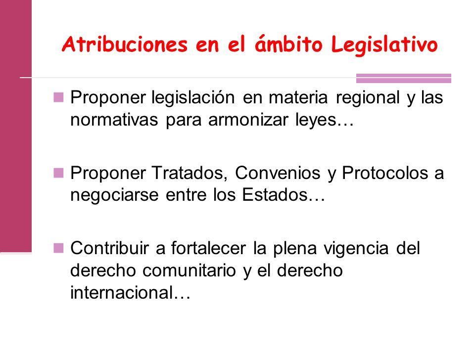 Atribuciones en el ámbito Legislativo Proponer legislación en materia regional y las normativas para armonizar leyes… Proponer Tratados, Convenios y Protocolos a negociarse entre los Estados… Contribuir a fortalecer la plena vigencia del derecho comunitario y el derecho internacional…