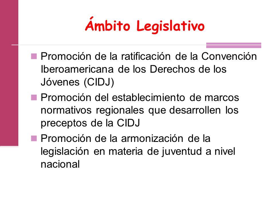 Ámbito Legislativo Promoción de la ratificación de la Convención Iberoamericana de los Derechos de los Jóvenes (CIDJ) Promoción del establecimiento de marcos normativos regionales que desarrollen los preceptos de la CIDJ Promoción de la armonización de la legislación en materia de juventud a nivel nacional