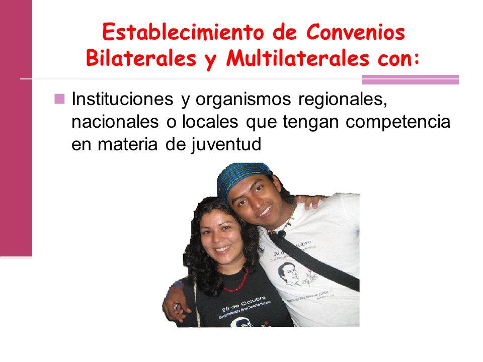 Establecimiento de Convenios Bilaterales y Multilaterales con: Instituciones y organismos regionales, nacionales o locales que tengan competencia en materia de juventud