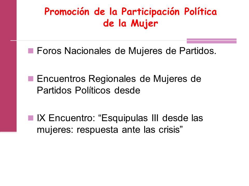 Promoción de la Participación Política de la Mujer Foros Nacionales de Mujeres de Partidos.