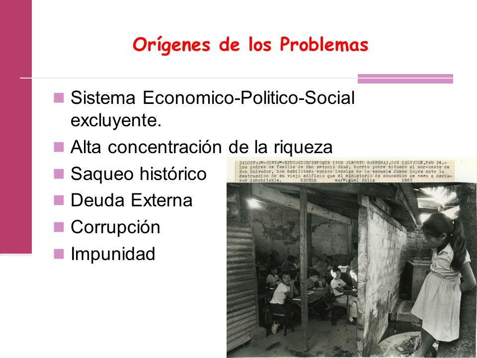 Orígenes de los Problemas Sistema Economico-Politico-Social excluyente.