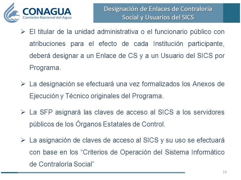 El titular de la unidad administrativa o el funcionario público con atribuciones para el efecto de cada Institución participante, deberá designar a un Enlace de CS y a un Usuario del SICS por Programa.