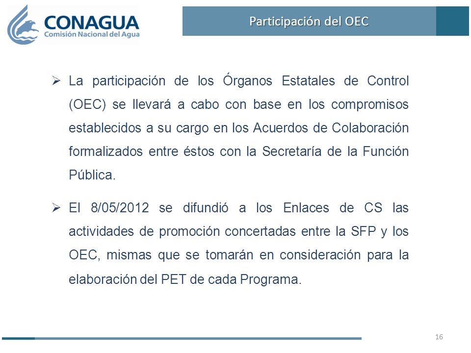 La participación de los Órganos Estatales de Control (OEC) se llevará a cabo con base en los compromisos establecidos a su cargo en los Acuerdos de Colaboración formalizados entre éstos con la Secretaría de la Función Pública.
