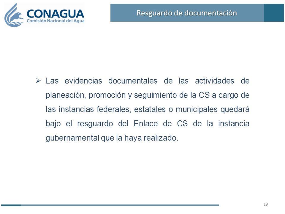 Las evidencias documentales de las actividades de planeación, promoción y seguimiento de la CS a cargo de las instancias federales, estatales o munici