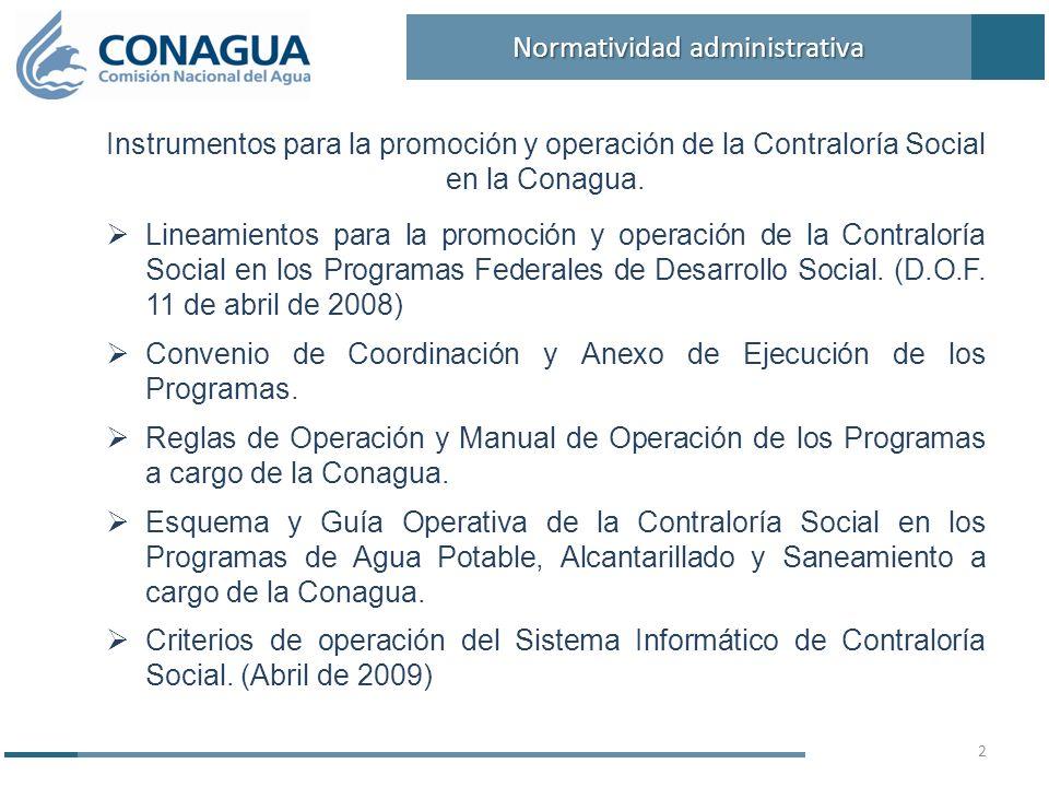 Instrumentos para la promoción y operación de la Contraloría Social en la Conagua. Lineamientos para la promoción y operación de la Contraloría Social