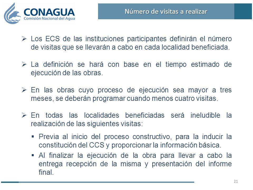Los ECS de las instituciones participantes definirán el número de visitas que se llevarán a cabo en cada localidad beneficiada. La definición se hará