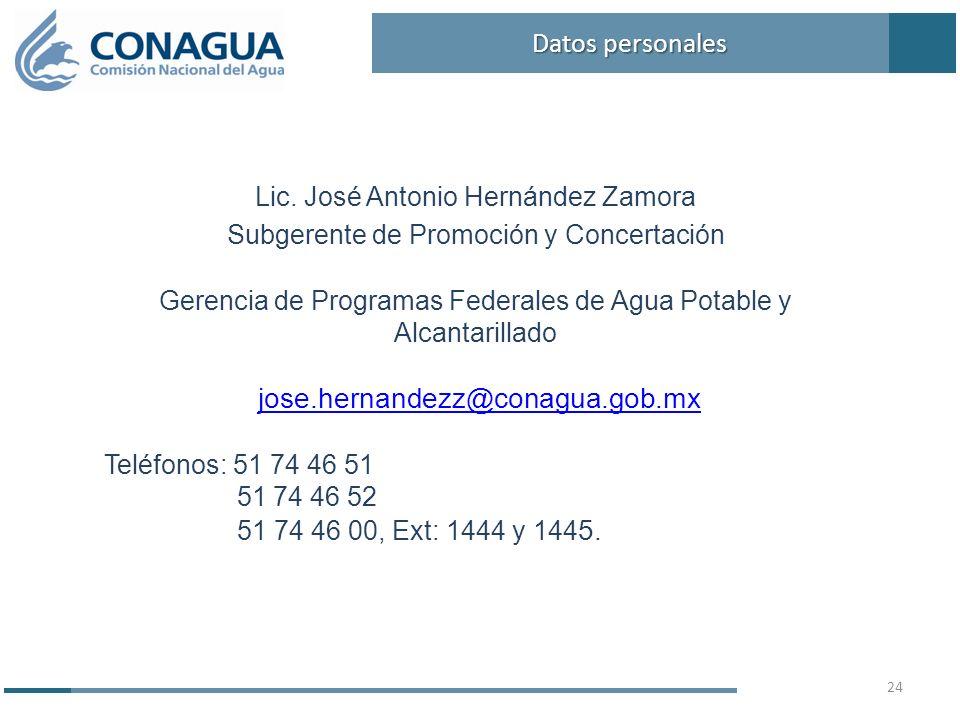 Lic. José Antonio Hernández Zamora Subgerente de Promoción y Concertación Gerencia de Programas Federales de Agua Potable y Alcantarillado jose.hernan