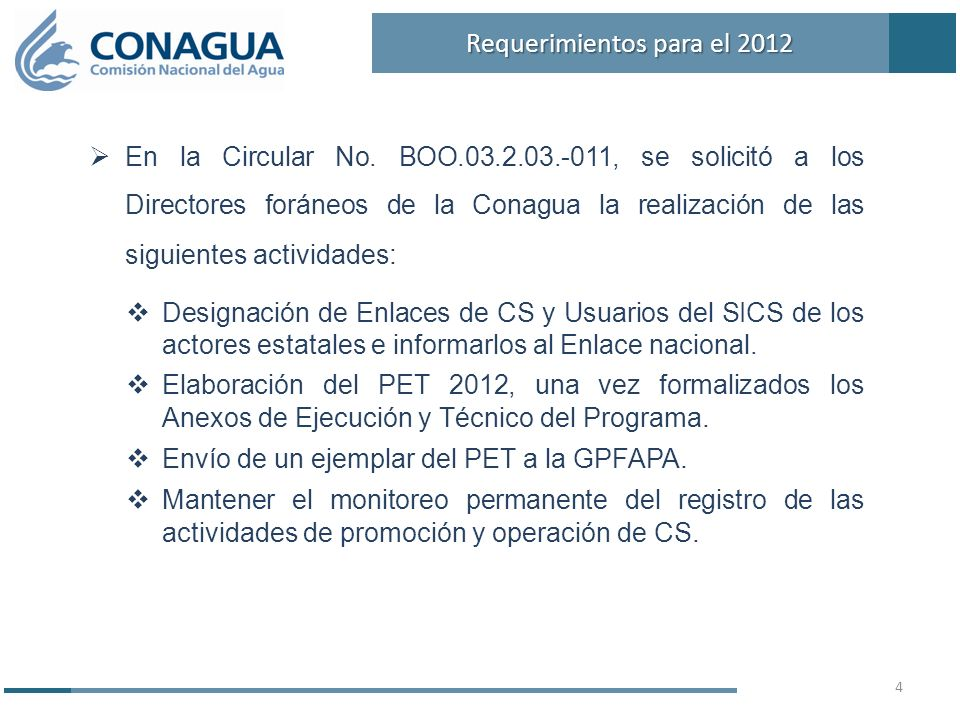 En la Circular No. BOO.03.2.03.-011, se solicitó a los Directores foráneos de la Conagua la realización de las siguientes actividades : Designación de