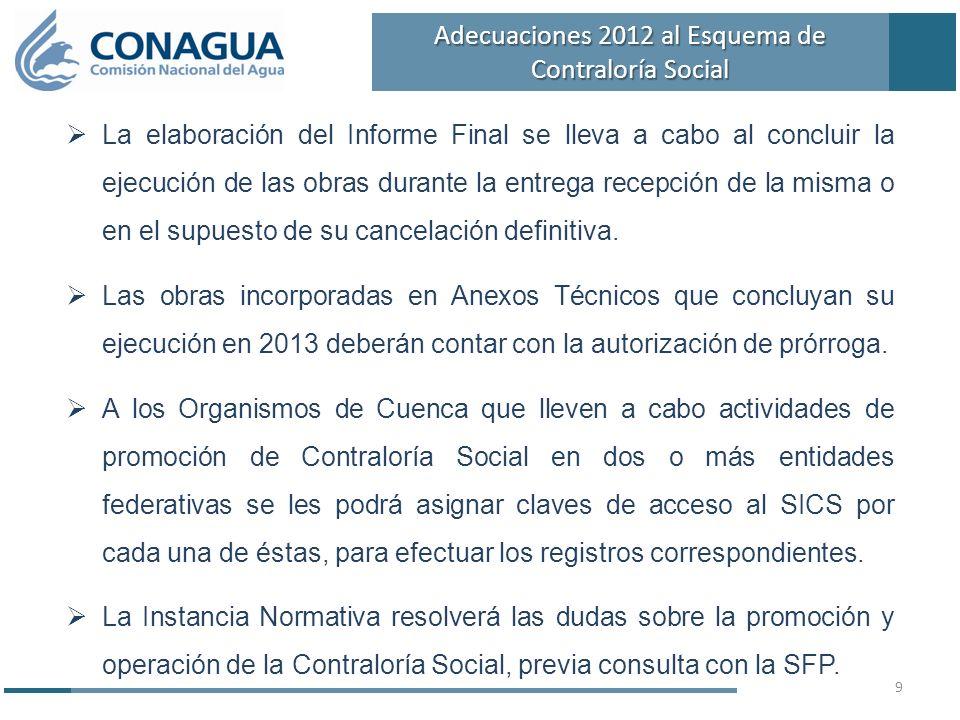 La elaboración del Informe Final se lleva a cabo al concluir la ejecución de las obras durante la entrega recepción de la misma o en el supuesto de su