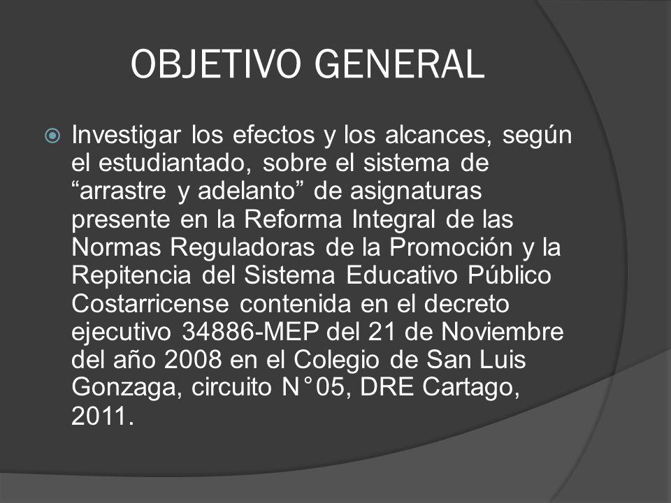 OBJETIVO GENERAL Investigar los efectos y los alcances, según el estudiantado, sobre el sistema de arrastre y adelanto de asignaturas presente en la Reforma Integral de las Normas Reguladoras de la Promoción y la Repitencia del Sistema Educativo Público Costarricense contenida en el decreto ejecutivo 34886-MEP del 21 de Noviembre del año 2008 en el Colegio de San Luis Gonzaga, circuito N°05, DRE Cartago, 2011.