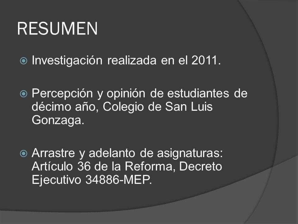 RESUMEN Investigación realizada en el 2011.