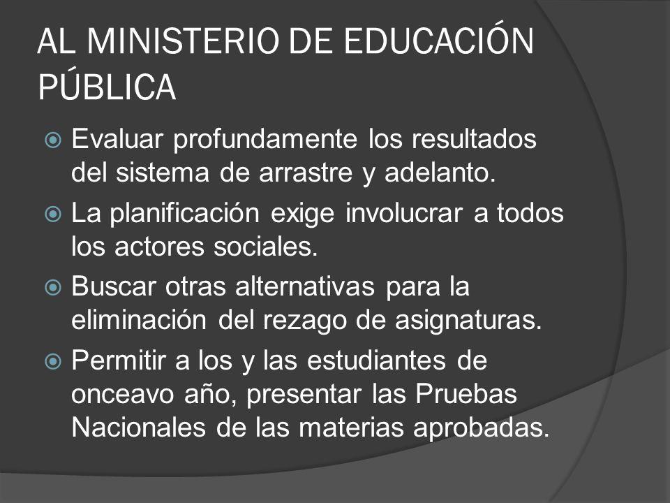 AL MINISTERIO DE EDUCACIÓN PÚBLICA Evaluar profundamente los resultados del sistema de arrastre y adelanto.