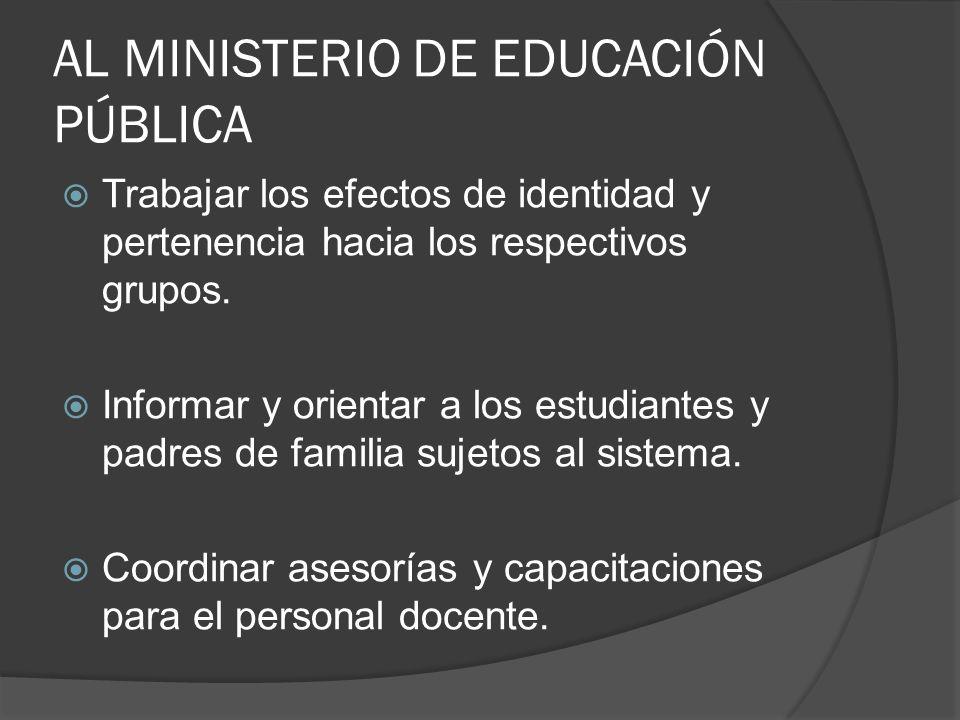 AL MINISTERIO DE EDUCACIÓN PÚBLICA Trabajar los efectos de identidad y pertenencia hacia los respectivos grupos.