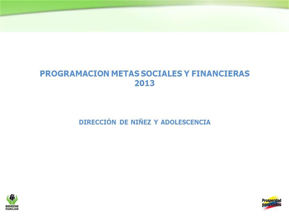 PROGRAMACION METAS SOCIALES Y FINANCIERAS 2013 DIRECCIÓN DE NIÑEZ Y ADOLESCENCIA