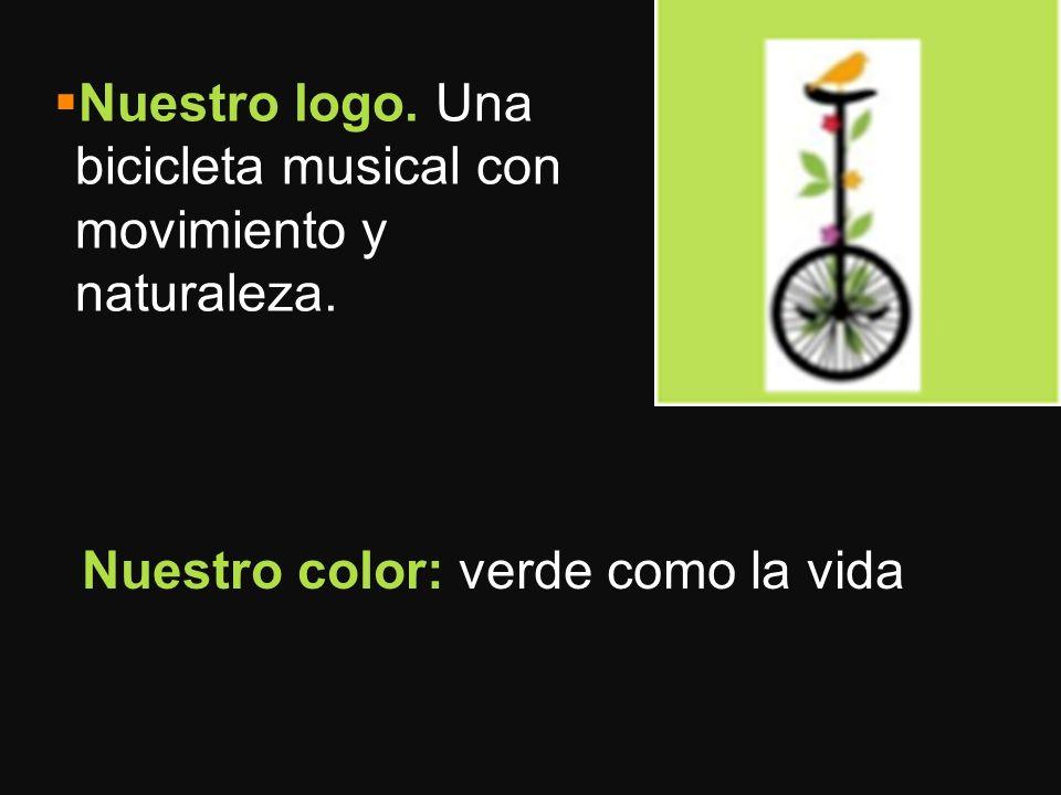 Nuestro logo. Una bicicleta musical con movimiento y naturaleza. Nuestro color: verde como la vida