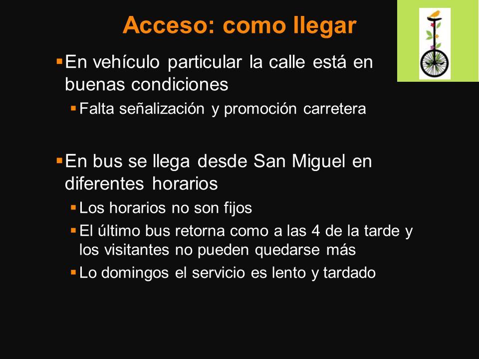 Acceso: como llegar En vehículo particular la calle está en buenas condiciones Falta señalización y promoción carretera En bus se llega desde San Migu