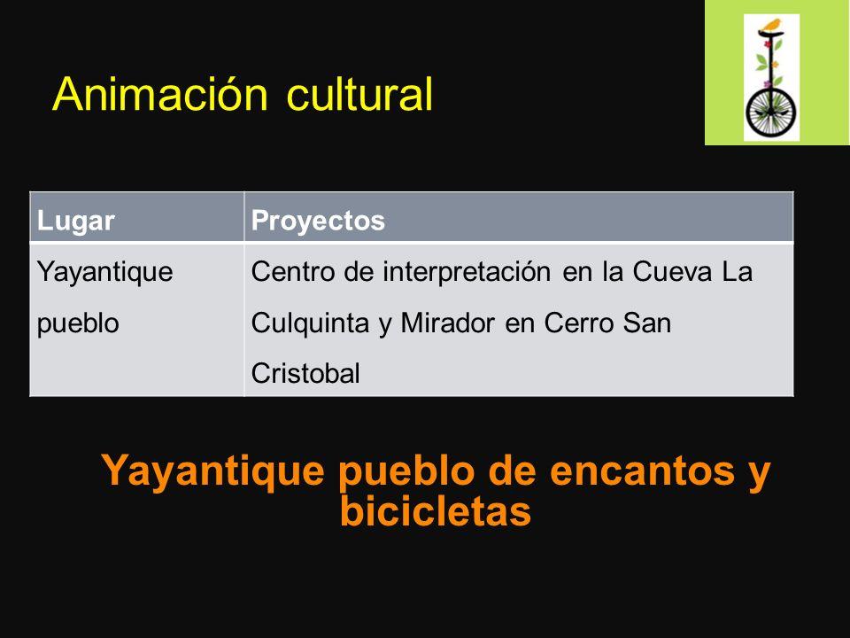 Animación cultural LugarProyectos Yayantique pueblo Centro de interpretación en la Cueva La Culquinta y Mirador en Cerro San Cristobal Yayantique pueblo de encantos y bicicletas