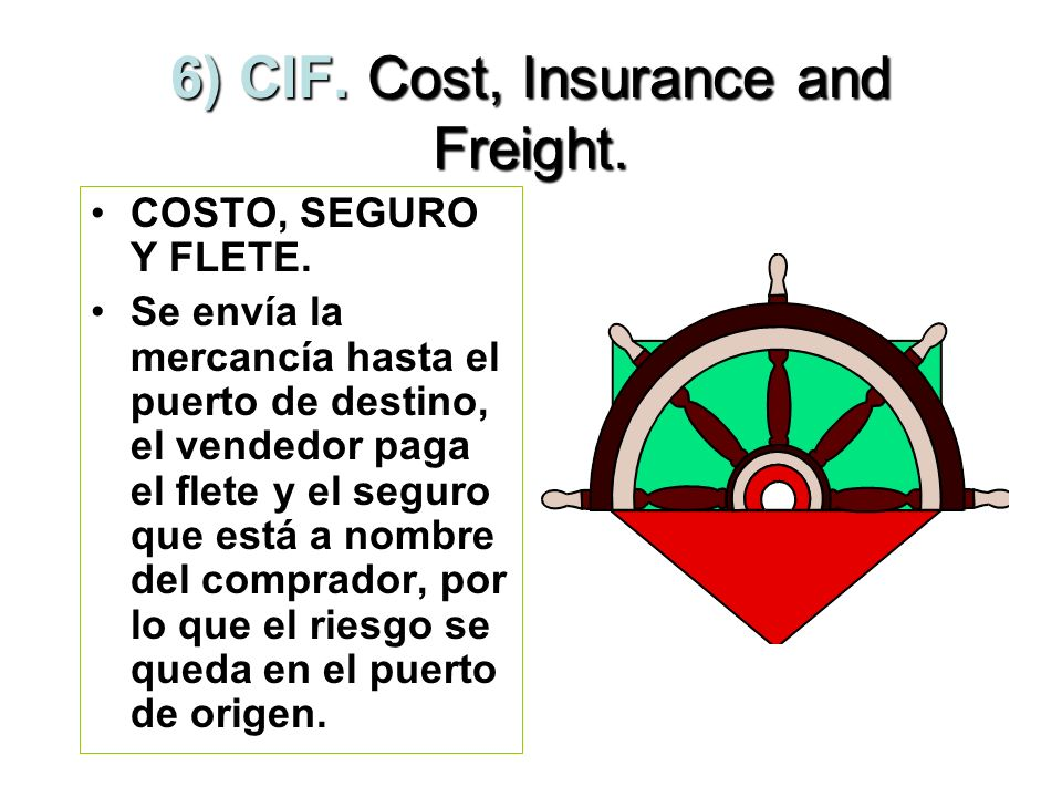 5) CFR.Cost and Freight. COSTO Y FLETE.