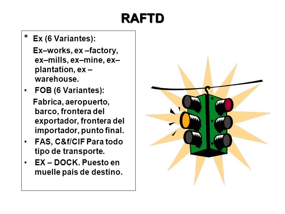 RAFTD: Revised American Foreign Trade Definitions (1919) Última revisión en 1941 y derogados en 1985 sin embargo algunos importadores y exportadores U