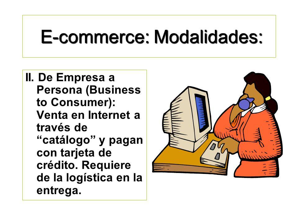 E-commerce: Modalidades. I. De Empresa a Empresa (Business to Business): Compra- Venta entre empresas, requiere contrato, pedidos, créditos, formas de
