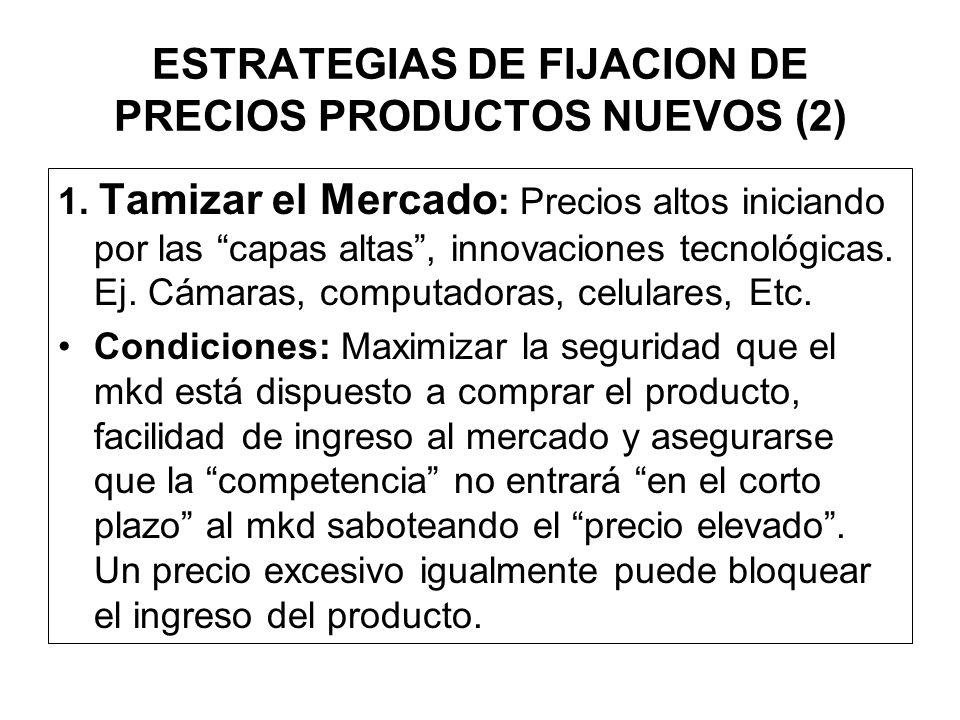 ESTRATEGIAS DE PRECIO ESTRATEGIAS PARA NUEVOS PRODUCTOS (2). ESTRATEGIAS PARA PRODUCTO IMITATIVOS (9) ESTRATEGIAS PARA LA MEZCLA DE PRODUCTOS (4). EST