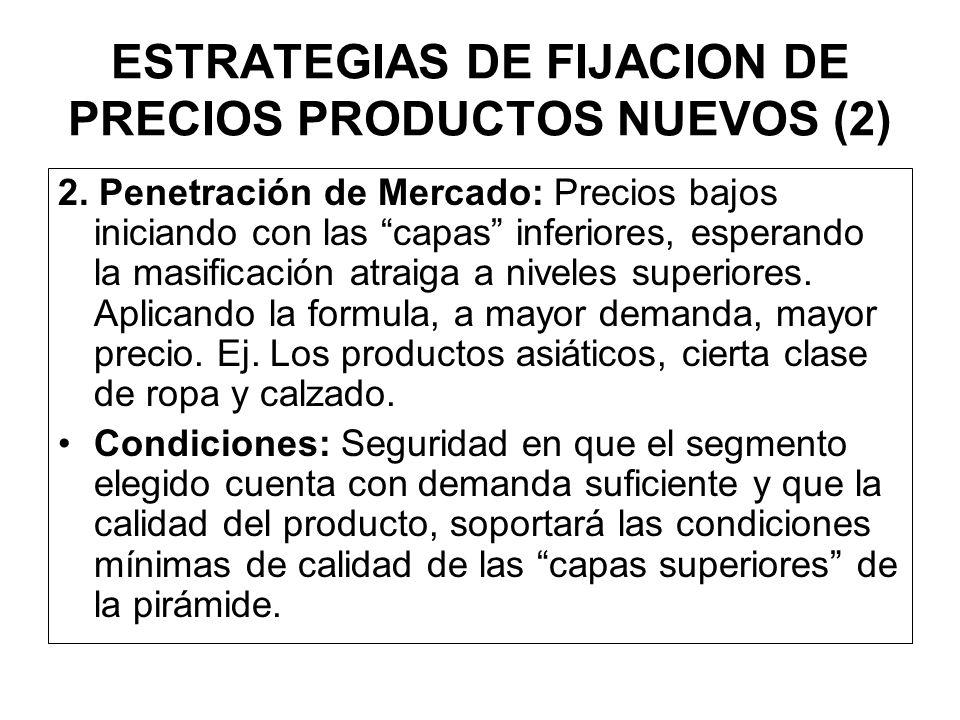 ESTRATEGIAS DE FIJACION DE PRECIOS PRODUCTOS NUEVOS (2) 1. Tamizar el Mercado : Precios altos iniciando por las capas altas, innovaciones tecnológicas