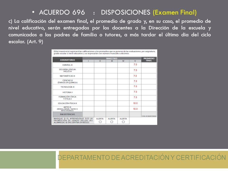 ACUERDO 696 : DISPOSICIONES (Examen Final) DEPARTAMENTO DE ACREDITACIÓN Y CERTIFICACIÓN c) La calificación del examen final, el promedio de grado y, e