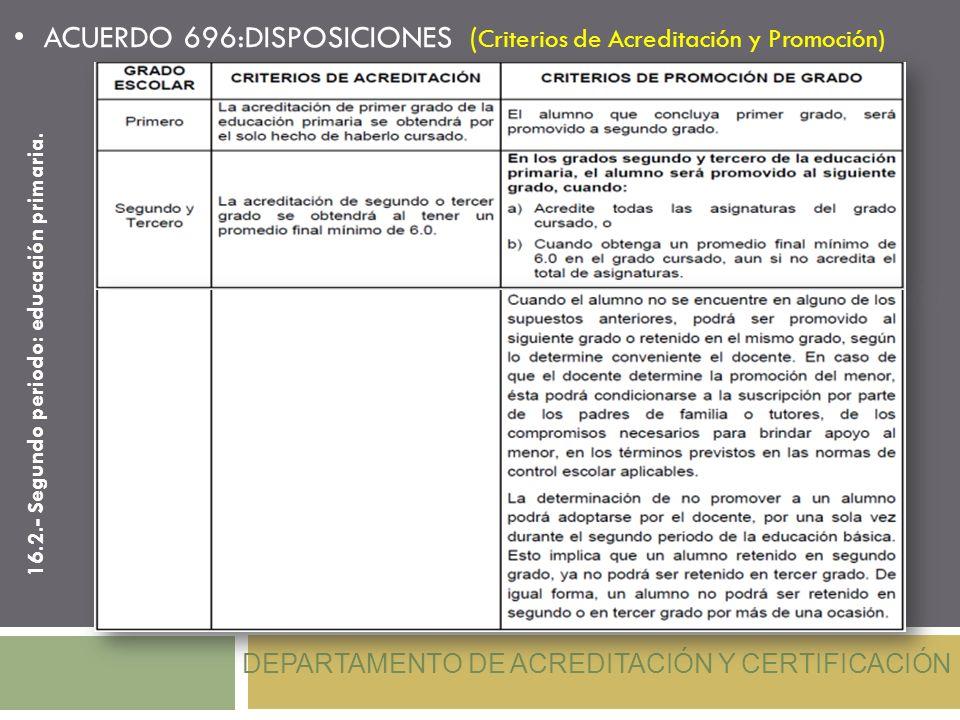 ACUERDO 696:DISPOSICIONES ( Criterios de Acreditación y Promoción) DEPARTAMENTO DE ACREDITACIÓN Y CERTIFICACIÓN 16.2.- Segundo periodo: educación prim