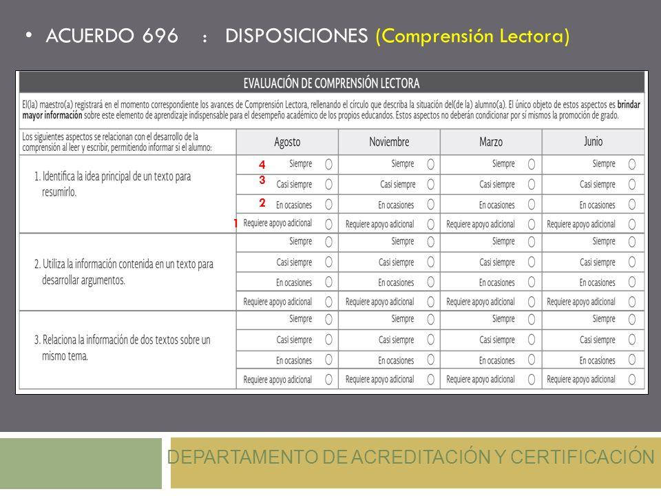 ACUERDO 696 : DISPOSICIONES (Comprensión Lectora) DEPARTAMENTO DE ACREDITACIÓN Y CERTIFICACIÓN 4 3 2 1