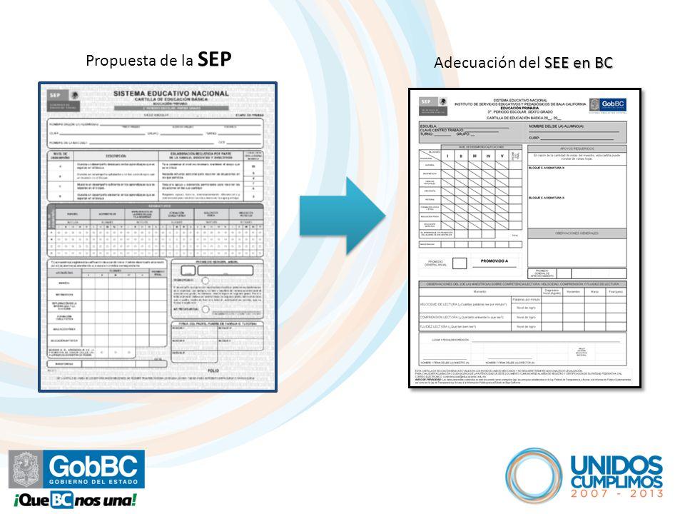 Propuesta de la SEP SEE en BC Adecuación del SEE en BC