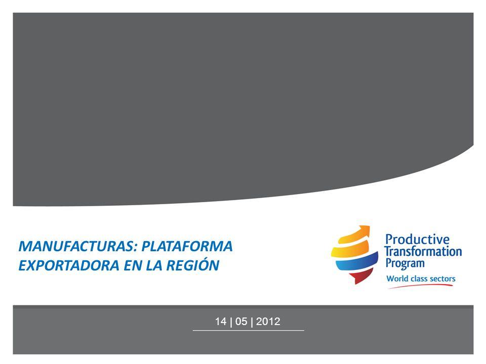 MANUFACTURAS: PLATAFORMA EXPORTADORA EN LA REGIÓN 14 | 05 | 2012