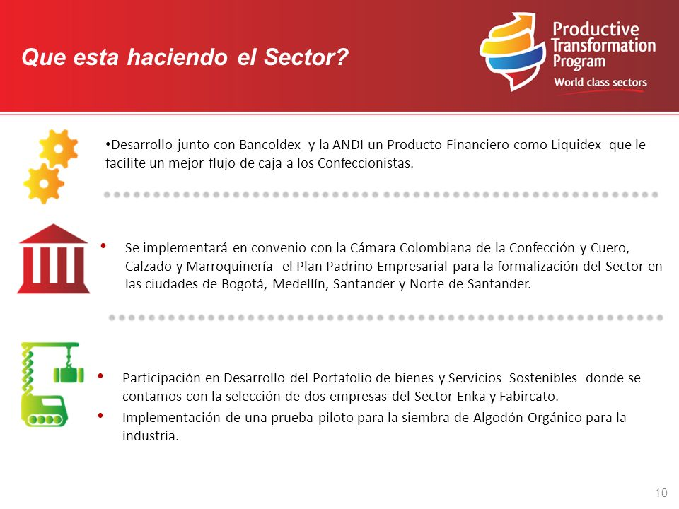 Se implementará en convenio con la Cámara Colombiana de la Confección y Cuero, Calzado y Marroquinería el Plan Padrino Empresarial para la formalización del Sector en las ciudades de Bogotá, Medellín, Santander y Norte de Santander.