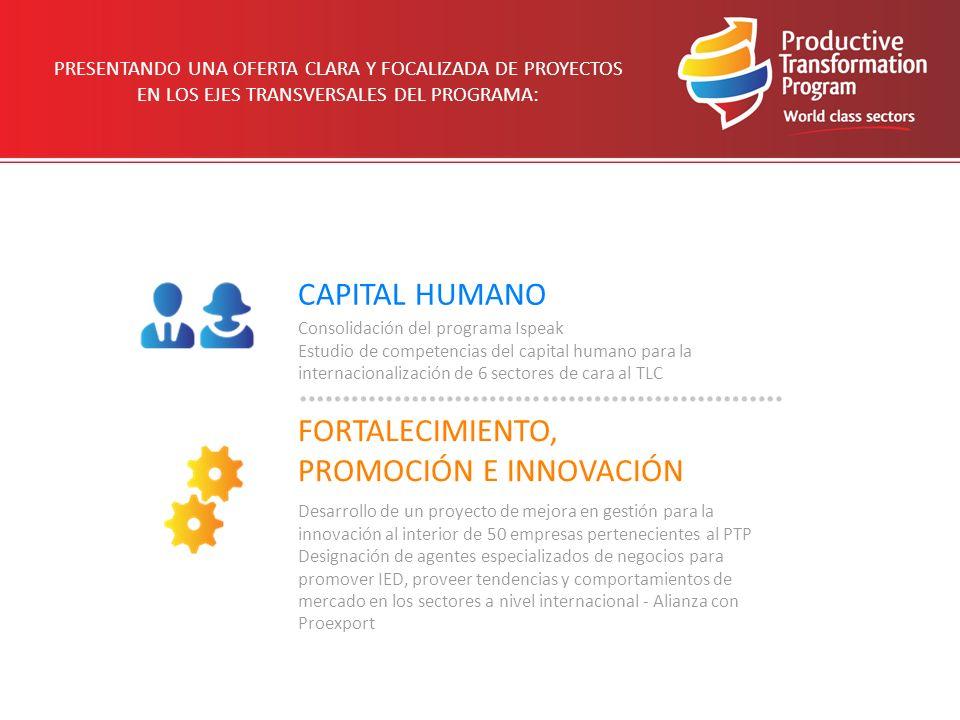 PRESENTANDO UNA OFERTA CLARA Y FOCALIZADA DE PROYECTOS EN LOS EJES TRANSVERSALES DEL PROGRAMA: CAPITAL HUMANO FORTALECIMIENTO, PROMOCIÓN E INNOVACIÓN