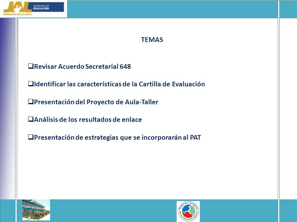 TEMAS Revisar Acuerdo Secretarial 648 Identificar las características de la Cartilla de Evaluación Presentación del Proyecto de Aula-Taller Análisis de los resultados de enlace Presentación de estrategias que se incorporarán al PAT