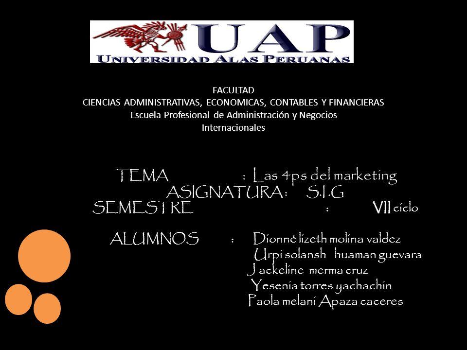 FACULTAD CIENCIAS ADMINISTRATIVAS, ECONOMICAS, CONTABLES Y FINANCIERAS Escuela Profesional de Administración y Negocios Internacionales TEMA : Las 4ps