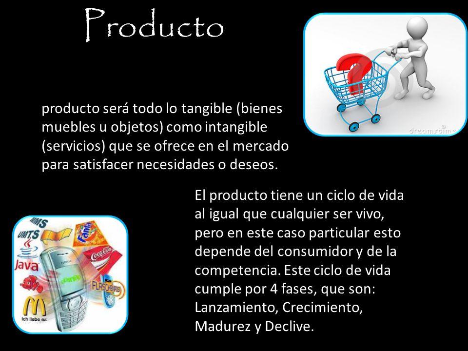 Producto producto será todo lo tangible (bienes muebles u objetos) como intangible (servicios) que se ofrece en el mercado para satisfacer necesidades