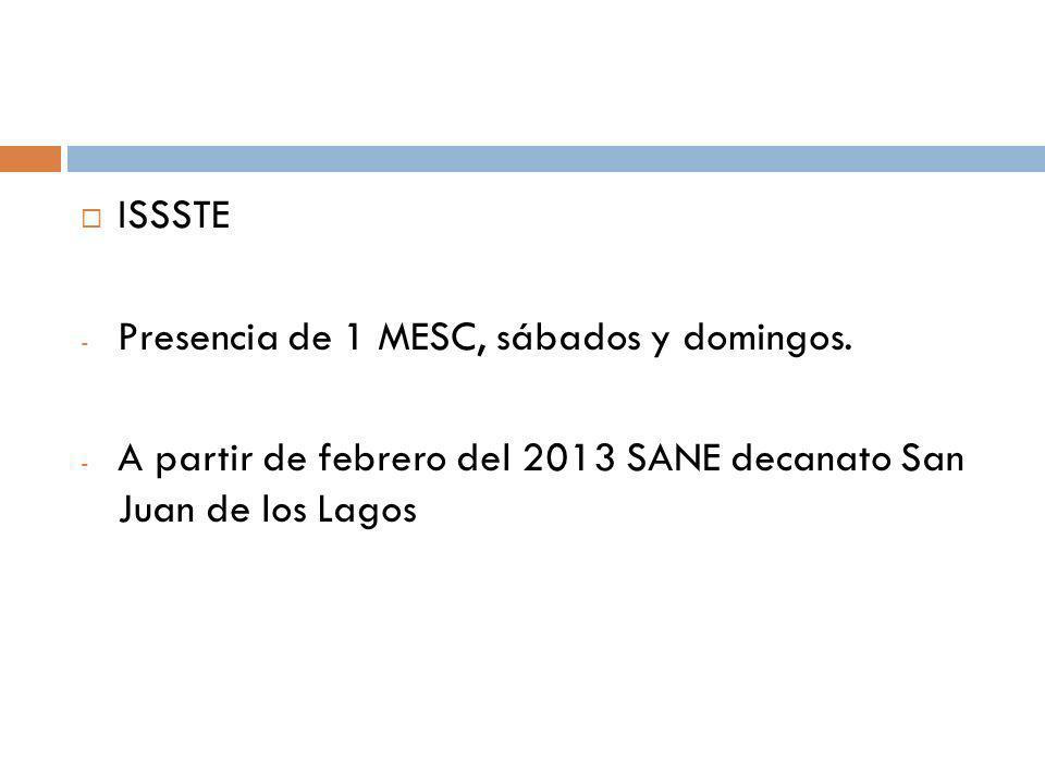 ISSSTE - Presencia de 1 MESC, sábados y domingos. - A partir de febrero del 2013 SANE decanato San Juan de los Lagos