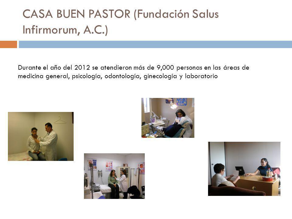 CASA BUEN PASTOR (Fundación Salus Infirmorum, A.C.) Durante el año del 2012 se atendieron más de 9,000 personas en las áreas de medicina general, psic
