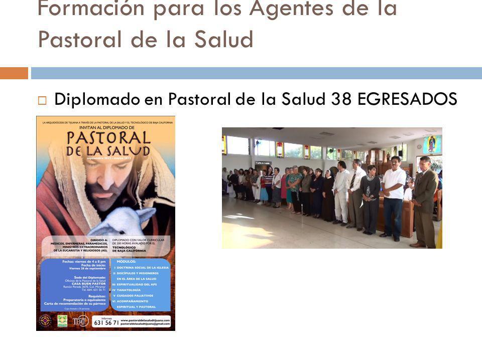 Formación para los Agentes de la Pastoral de la Salud Diplomado en Pastoral de la Salud 38 EGRESADOS