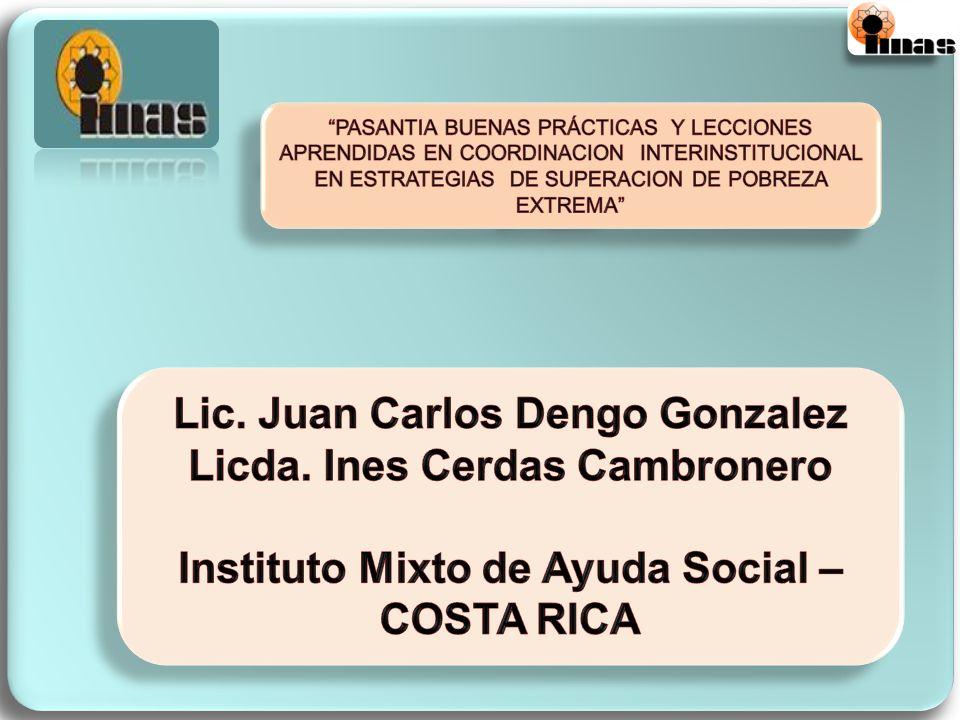 El Instituto Mixto de Ayuda Social (IMAS), es una Institución descentralizada con personería jurídica, creada según la ley 4760 del 30 de abril de 1971, vigente a partir del 8 de mayo de ese mismo año....