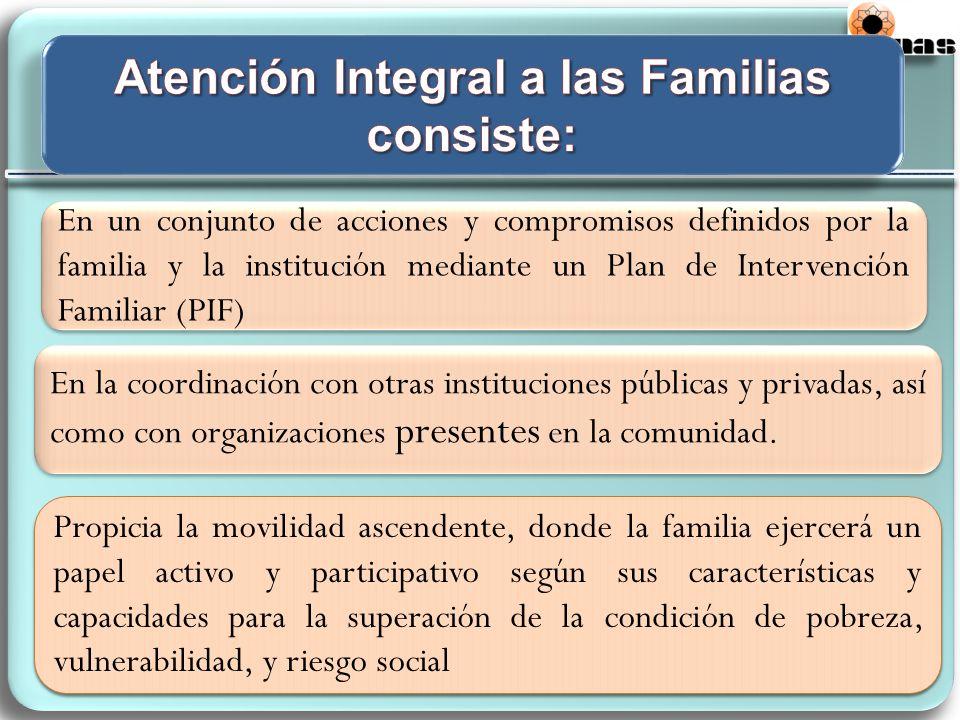 En un conjunto de acciones y compromisos definidos por la familia y la institución mediante un Plan de Intervención Familiar (PIF) En la coordinación con otras instituciones públicas y privadas, así como con organizaciones presentes en la comunidad.