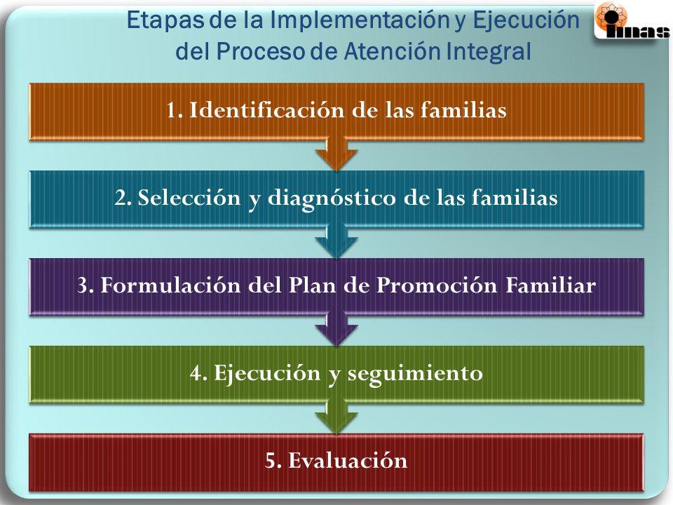 Etapas de la Implementación y Ejecución del Proceso de Atención Integral 5. Evaluación 4. Ejecución y seguimiento 3. Formulación del Plan de Promoción