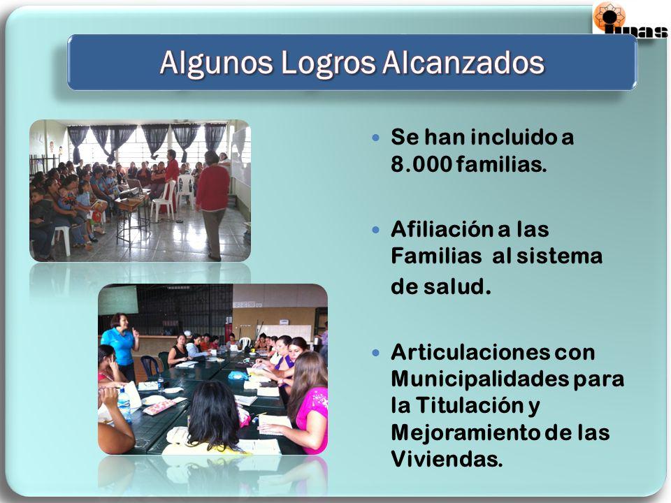 Se han incluido a 8.000 familias. Afiliación a las Familias al sistema de salud. Articulaciones con Municipalidades para la Titulación y Mejoramiento