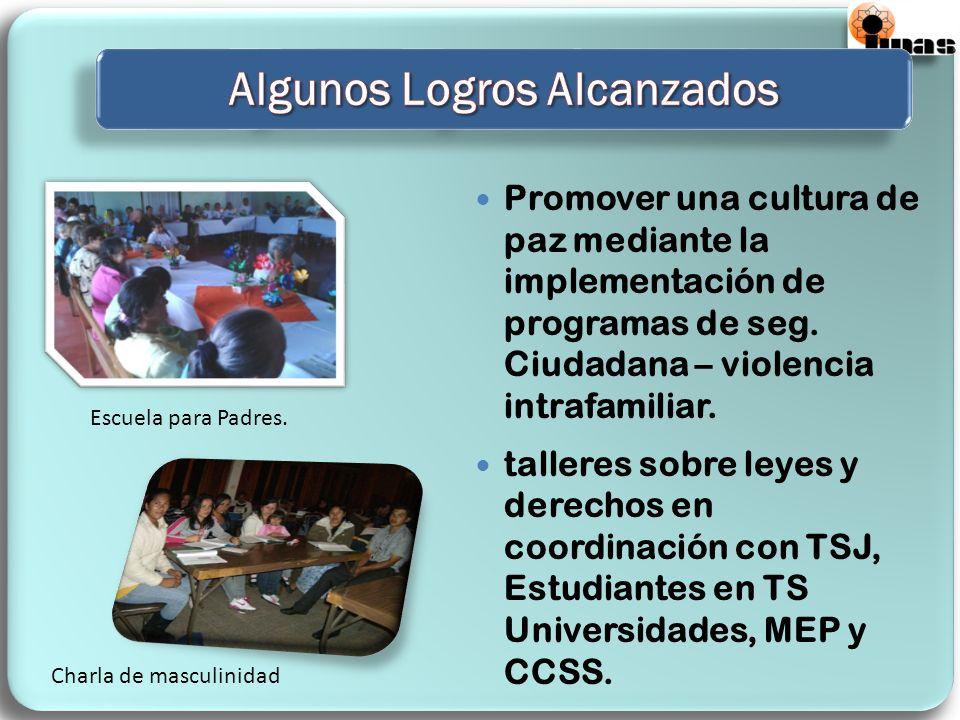 Promover una cultura de paz mediante la implementación de programas de seg. Ciudadana – violencia intrafamiliar. talleres sobre leyes y derechos en co
