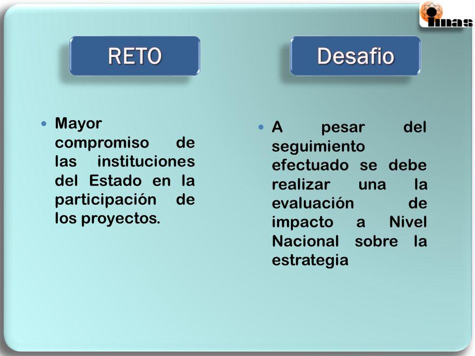 Mayor compromiso de las instituciones del Estado en la participación de los proyectos. A pesar del seguimiento efectuado se debe realizar una la evalu