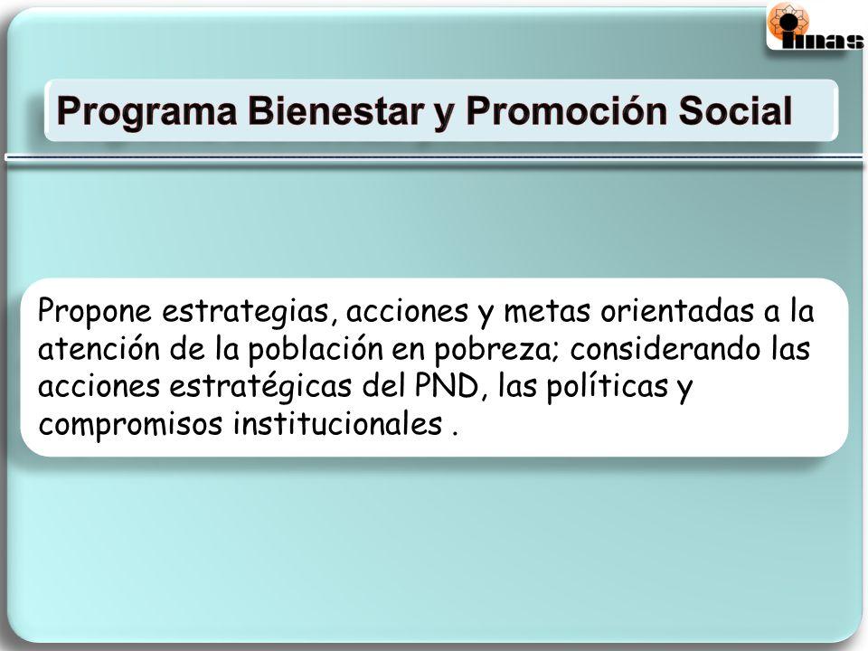 Propone estrategias, acciones y metas orientadas a la atención de la población en pobreza; considerando las acciones estratégicas del PND, las políticas y compromisos institucionales.